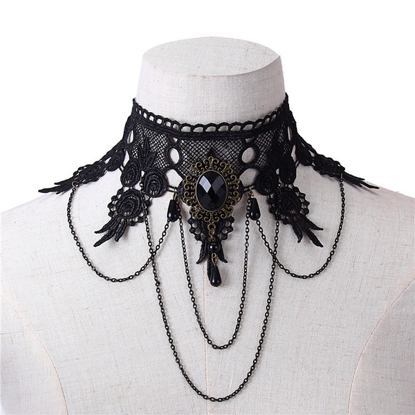 Choker Dress Accessories Creative Black Lace Gem Necklace Pearl Crystal Tassel Wide Necklace False Collar Necklace