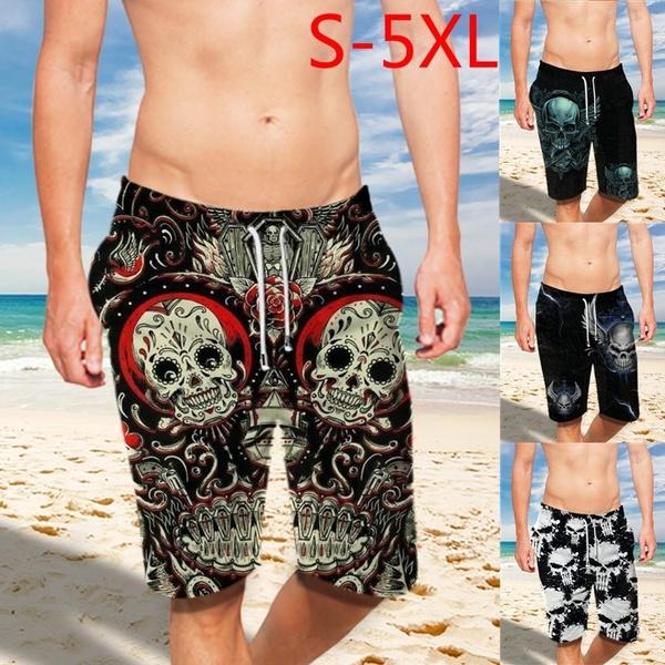 Plus Size, Beach Shorts, 3dsugarskull, Lace