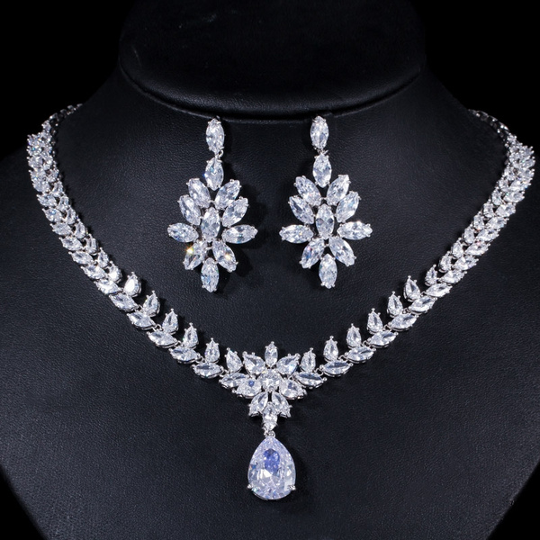dda0c0e5fd0 CWWZircons Luxury Cubic Zirconia Bridal Costume Jewelry Accessories CZ  Diamond Long Big Wedding Earrings and Necklace Sets for Women