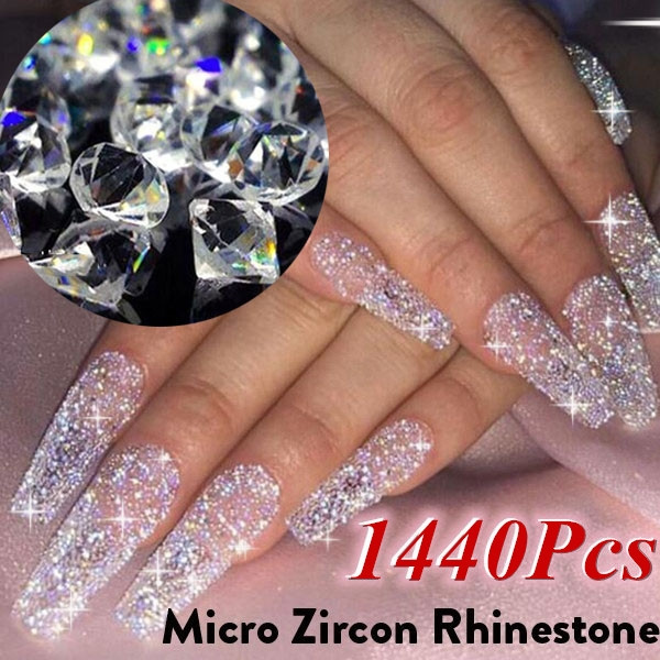 1440pcs/Bag 1.1mm Zircon Rhinestones Micro Conical Rhinestone Mini Nail Art Rhinestone Nail Decorations Loose Rhinestones by Wish