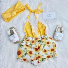 toddlerromper, Ropa, Sunflowers, girljumpsuit