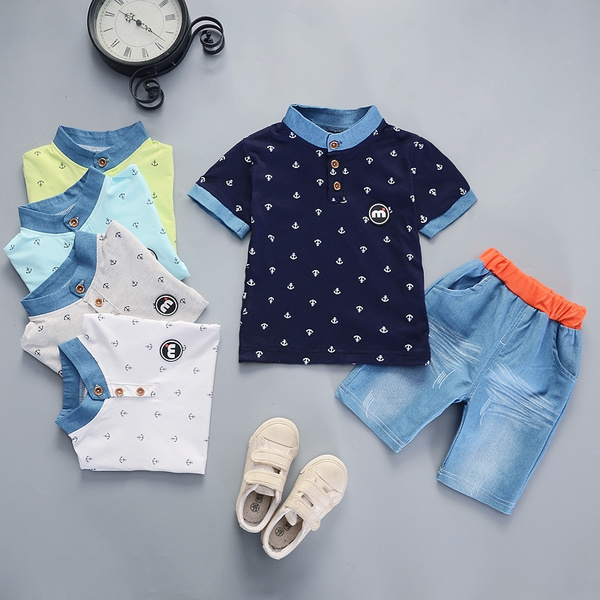 474452f49926 2pcs Cute Kids Boys Short Sleeve T-Shirt+Shorts Children Outfits Summer  Baby Clothing Set 0-5 Years Old