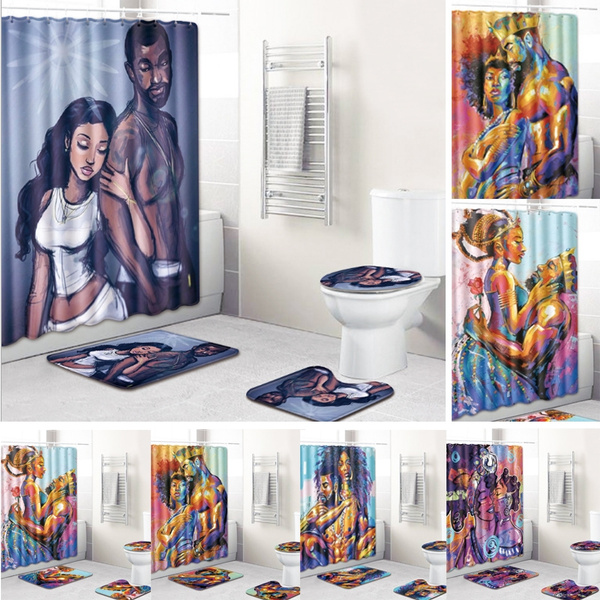 African American Men and Women Bathroom Anti-slip Mat Shower Curtain Set Toilet