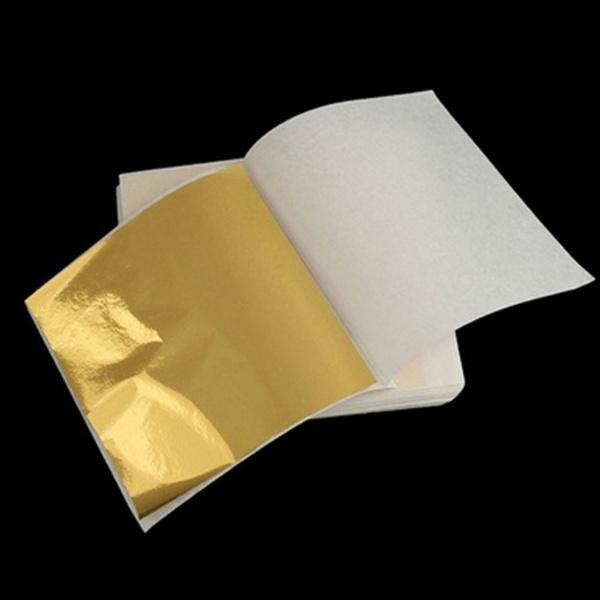 80 x 24K Gold Leaf Sheets Art Crafts Design Gilding Framing  70mm