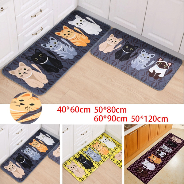 3 Color Cat Kitchen Floor Mat Anti Slip