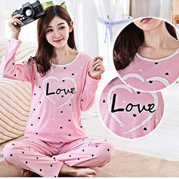 women's pajamas, warmnightgown, Sleeve, cute