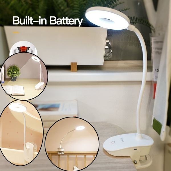 LED Touch On//off Switch 3 Modes Clip Desk Lamp Dimmer Rechargeable USB Desk Lamp
