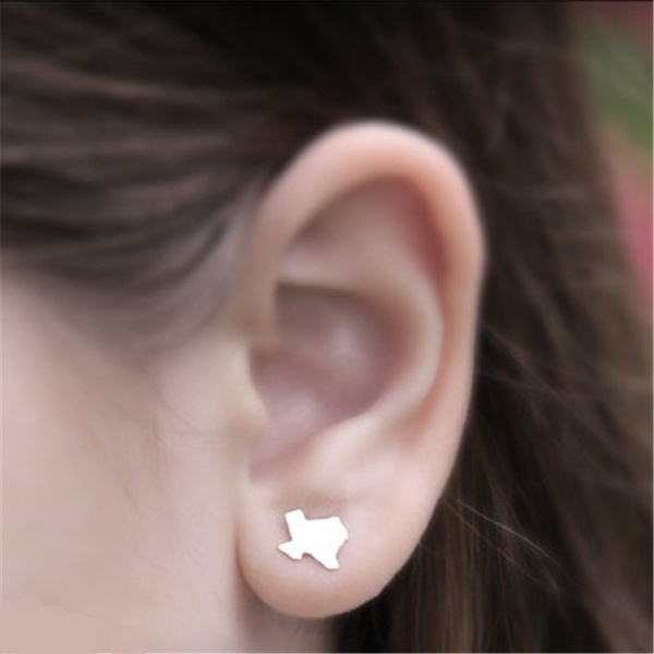Texas Stud Earrings Gold Silver State