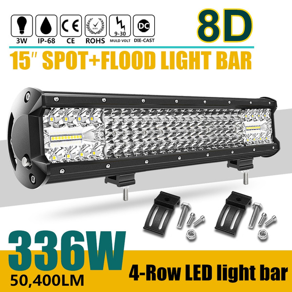 Upgraded 4rows 12inch 15inch Led Works Light Bar 264w 336w Led Light Bar Led Spot Light Flood Lights For Off Road Truck Tractor Boat