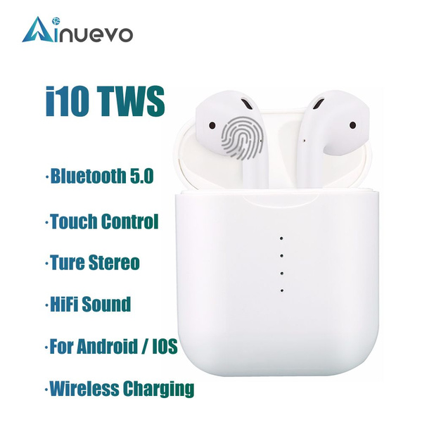 i10 Tws Bluetooth Earphones Wireless Bluetooth 5 0 Earbuds Touch Control  Headphones for Smartphone(Not Including Wireless Charging Pad)