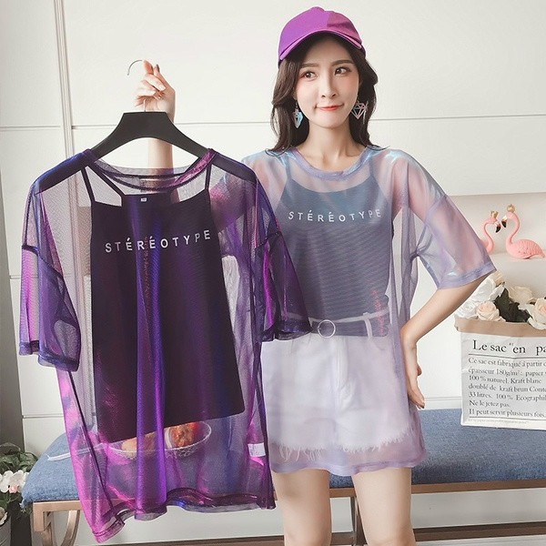 Tops + Vests Fashion Women Party T Shirts Perspective Bright Mesh Yarn Short Sleeved T Shirt Blouse Summer Dress by Wish