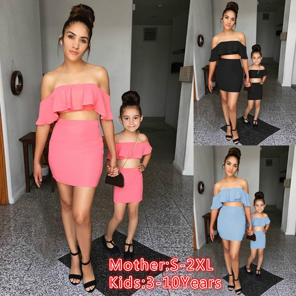 Mother And Daughter Outfit Two Piece Set Crop Top And Skirts Set Summer Fashion Parent Child Dress Off The Shoulder Ruffle Crop Top And High Waist