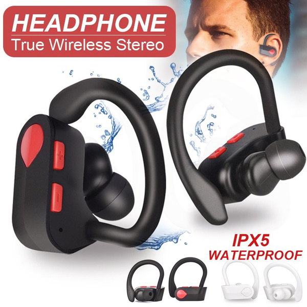 Tws Bluetooth 5 0 Headset Ipx5 Waterproof Sport Stereo In Ear Headphone Noise Cancellation Earhook Bluetooth Wireless Earbuds For Ios Android Smartphone Wish