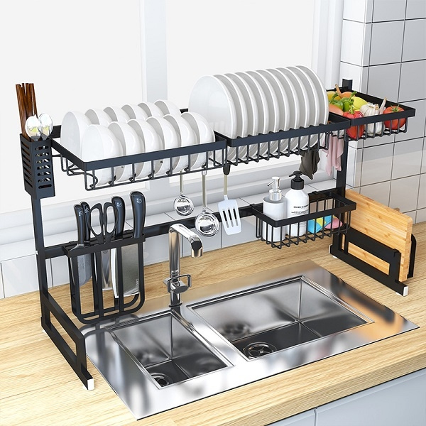 Charmant Over Sink Stainless Steel Dish Drying Storage Rack For Kitchen Storage