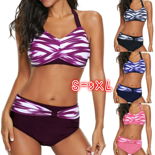 d5014dffbcb4 4 Color Women's Fashion Push Up Bikini Printed Twist Front Halter ...