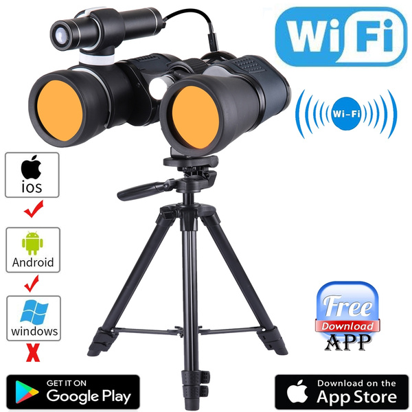 Night Vision Binoculars with WiFi connect with to APP,Infrared Night Vision  Telescope with a Big Tripod, observing distance up to 200M/650ft