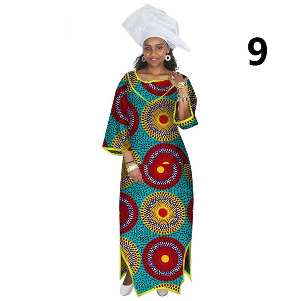 African Dresses for Women Half Sleeve Maxi Dress Africa Print Dresses  Dashiki Women Bazin Rich Long Dresses Plus Size 6XL WY2569