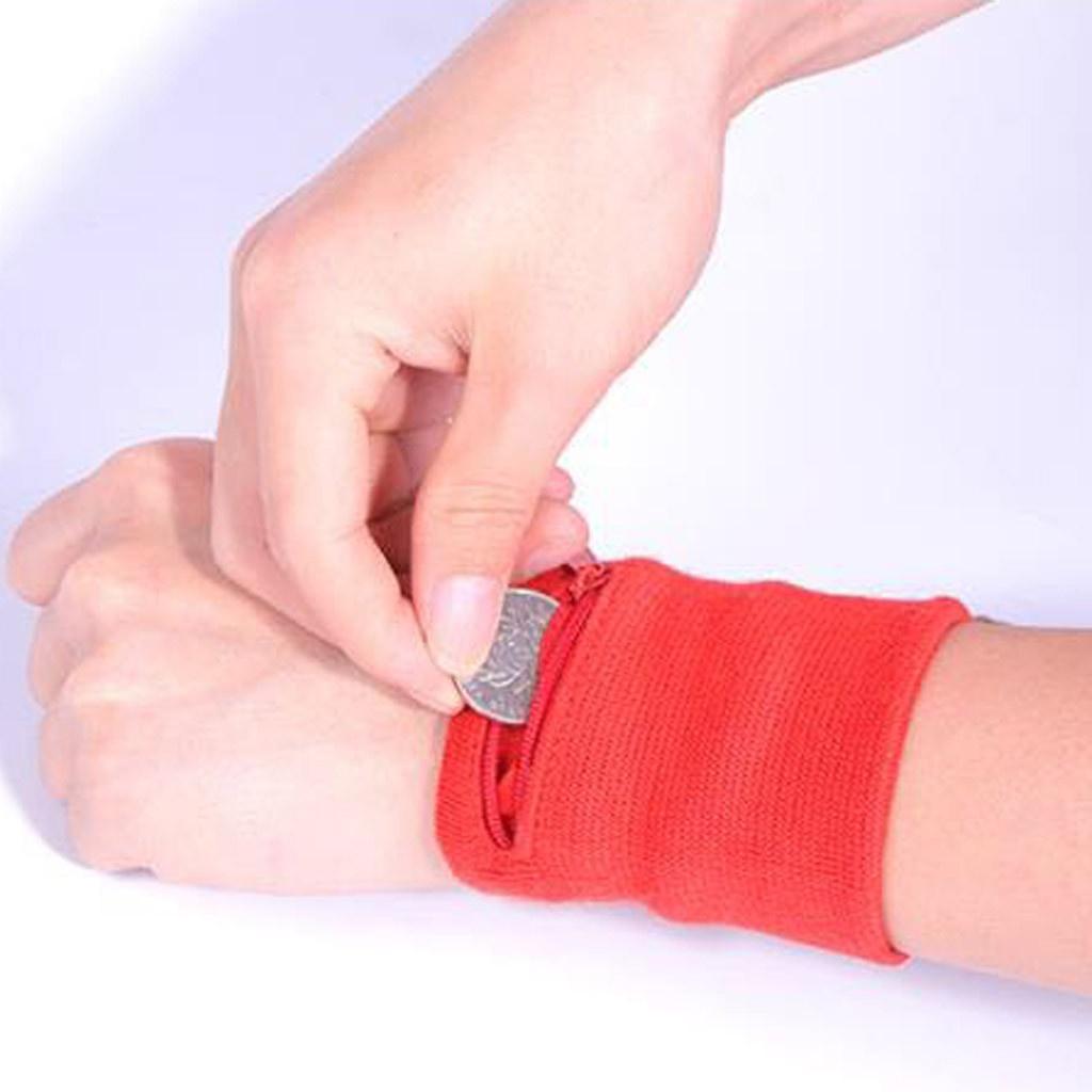 Sport Cyclisme Bracelet Portefeuille stockage sécurisé Wallet Zipper Bracelet Bracer