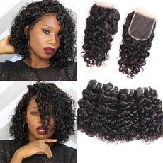 hair, waterwavebundleswithclosure, Lace, remyhumanhairextension