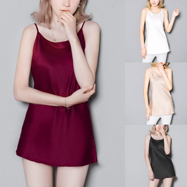 Womens Plus Size Imitated Silk Summer Basic Camisole Spaghetti Straps  Glitter Solid Color Tank Top Pajamas Scoop Neck Lingerie Mini Dress L-3XL  CAX