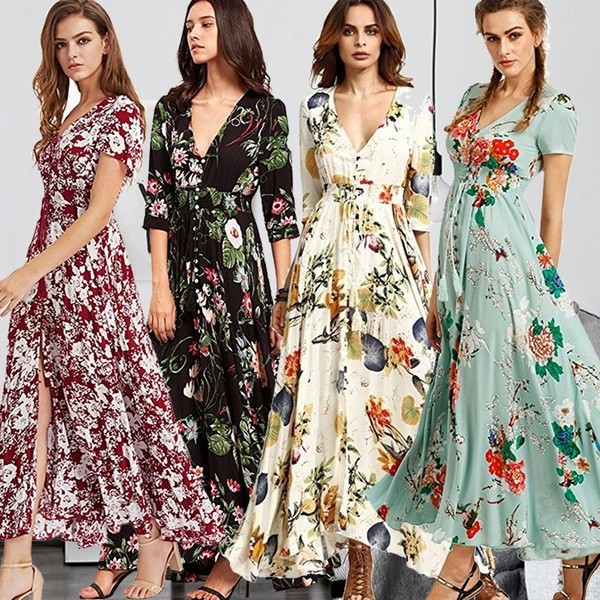 Plus Size, Print Dresses, Fashion, long dress