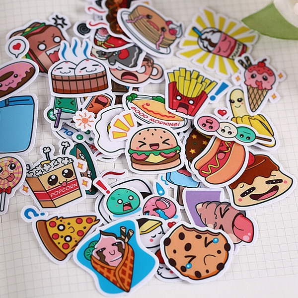 20/40pcs Cute Beautiful Food Cartoon Clip Art Mobile Phone Computer Decoration Diy Craft Album Sticker Random Not Repeat  by Wish