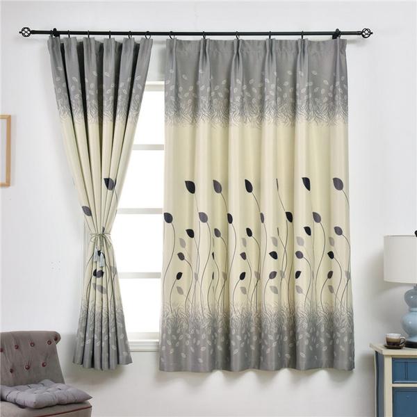 Leaf Print Blackout Curtains For Living