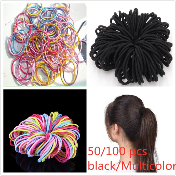 Black Or Multicolor Hair Band Thick Rubber Bands Hair Elastics