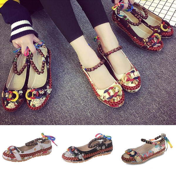Womens Casual Shoes,Fashion Ladies Ethnic Beading Round Toe Shallow Shoes Embroidered Flat Single Shoes Dress Shoes