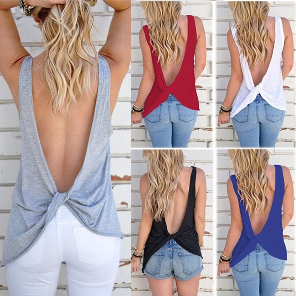 Summer, womens tank tops, solidcolorstop, backless top