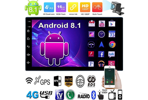 "7/"" 2Din Quad Core Android 8.1 Car Stereo MP5 Player GPS Navi Radio WiFi BT4.0"