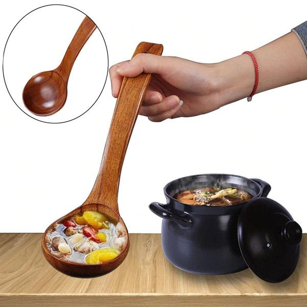 Handle Tableware Ramen Rice Kitchen Supplies Wooden Spoon Soup Scoops Natural