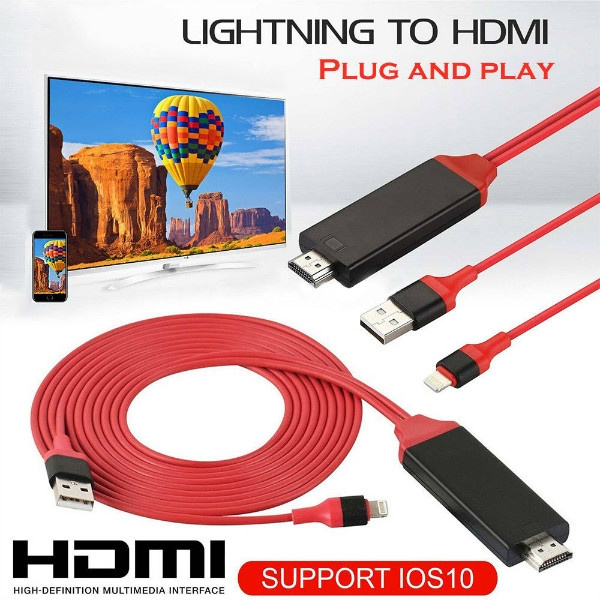 Lightning to 1080p 8Pin HDMI HDTV AV TV Adapter Cable Cord For Apple iPhone iPad