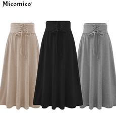 Plus Size, Waist, slimskirt, Pleated