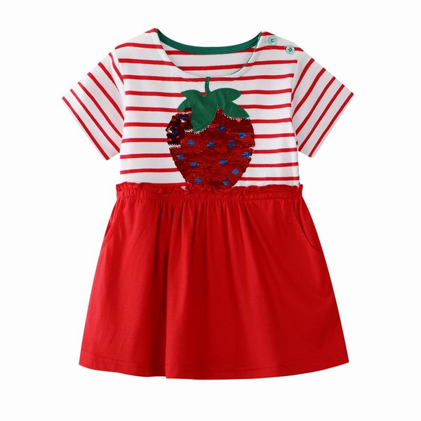b873c3a95 Strawberry Dresses for Girls Embroidery 7 Year Girls Clothes Paillettes  Dress for Children's Summer Girl Pocket Dress | Wish