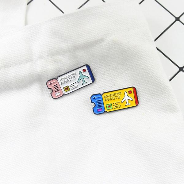 Airplane Brooch Cartoon Ticket Adventure Surprise Brooch Heart Shape Pattern Brooch Colorful Cute Sweet Waste Badge Leather Jacket Brooch by Wish