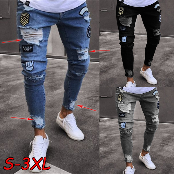 Men Slim Fit Ripped Biker Skinny Jeans Frayed Pants Casual Jogger Denim Trousers