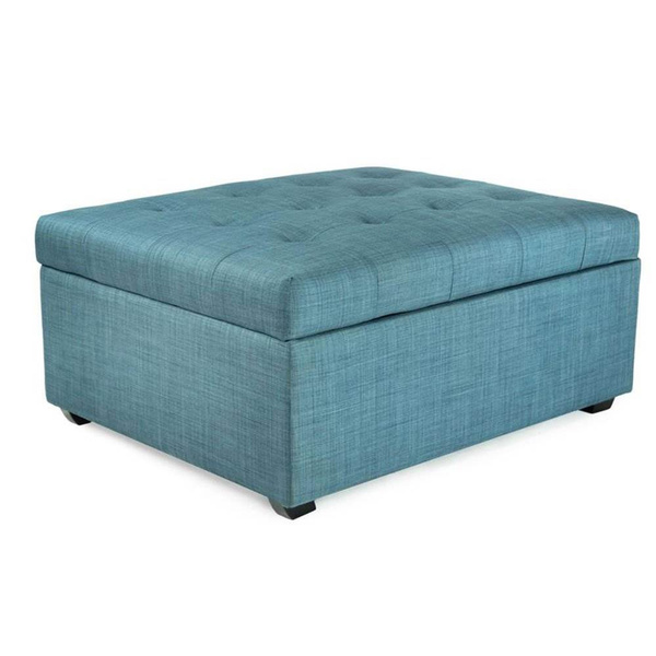 Incredible Spacemaster Ibed Convertible Ottoman Fold Out Hideaway Guest Bed Blue Fabric Andrewgaddart Wooden Chair Designs For Living Room Andrewgaddartcom