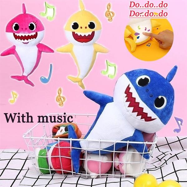 New Soft Doll Music Sound Baby Shark Plush Doll Soft Baby Cartoon Shark  Stuffed & Plush Toys Singing English Song for Kids Gift Children Girl