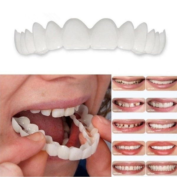 Perfect Smile Fake Teeth Upper False Fake Tooth Cover Snap on Immediate  Smile Cosmetic Denture Care Oral Care Plastic Whitening Denture Teeth