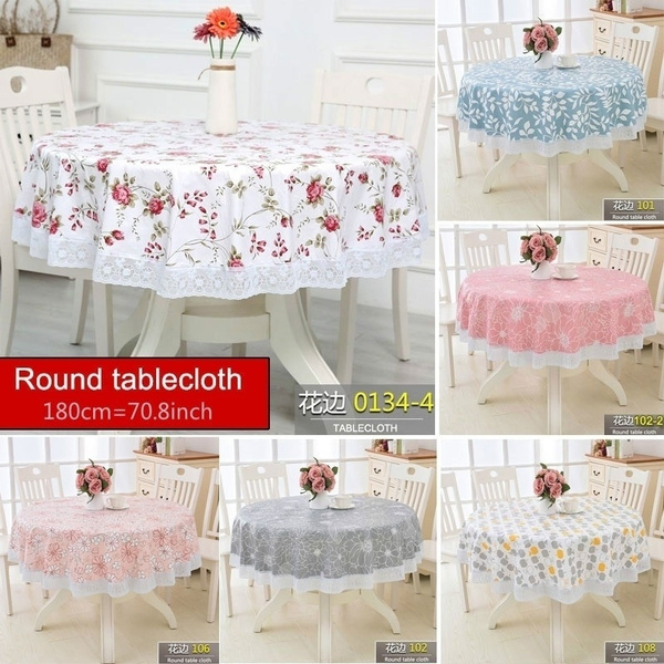 Large Round Table Cloth.180cm Round Tablecloth Environmental Protection Plus Velvet Plastic Large Round Table Cloth