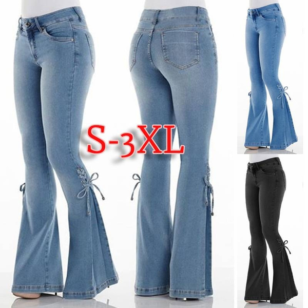 pretty nice popular stores top quality S-3XL Women Fashion Vintage Low Waist Flare Jeans Women Retro Style Bell  Bottom Skinny Jeans Wide Leg Denim Pants Spring and Summer Long Pants