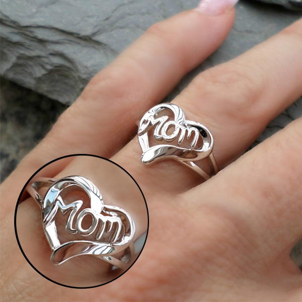 Heart, Love, momheartring, 925 silver rings