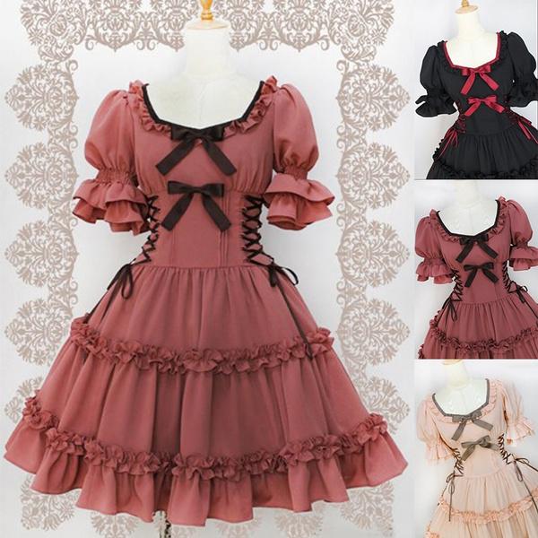 Elegant Women Gothic Lolita Dress Bandage Bowknot Dress Vintage Cosplay  Tutu Dresses Plus Size S-5XL