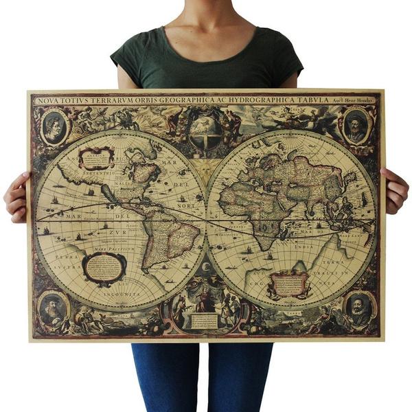 Antique, Map, Decor, Vintage