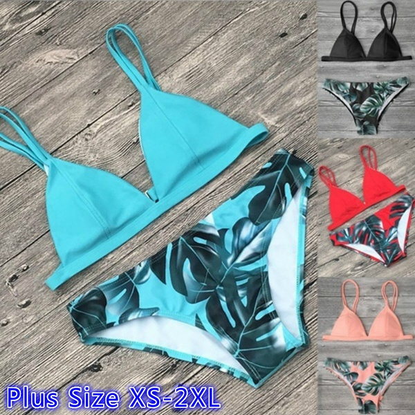 d7bf080a6485b Women Bikini Leaf Printed Two Piece Split Bikini Set For Summer ...
