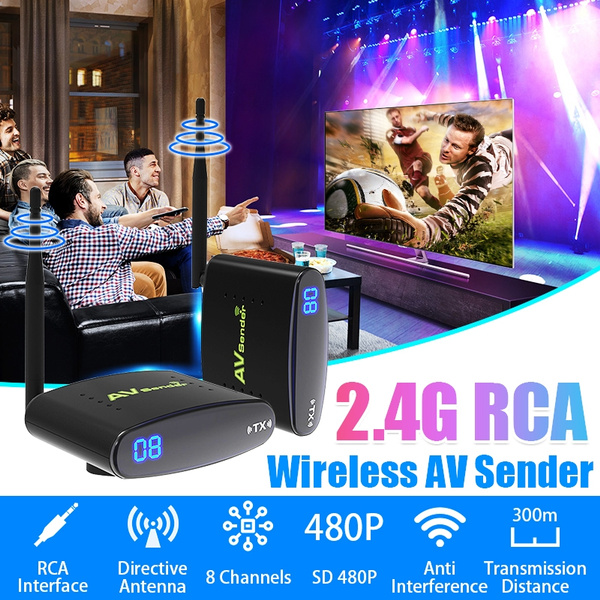 1 Pair 300M PAT-635 2 4G 480P Wireless Audio Video Transmitter Receiver TV  Wireless AV Sender Audio Video