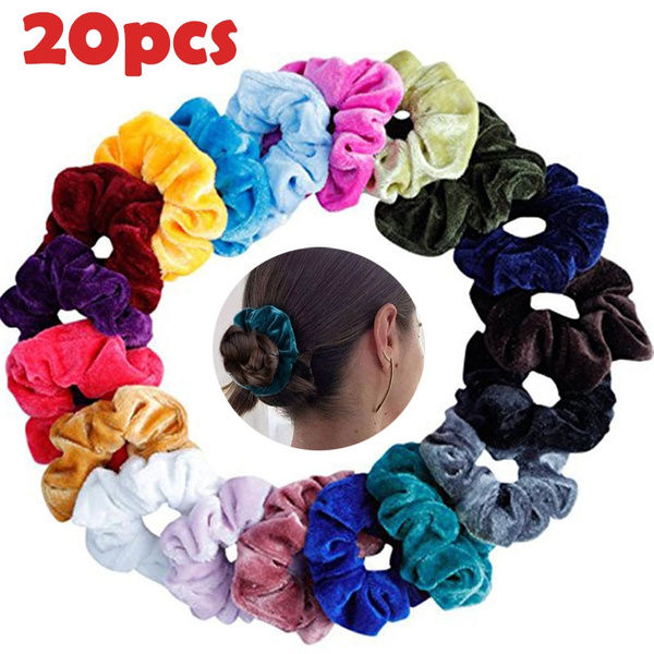 20 Pcs/10 Pcs Women Girls Velvet Elastic Scrunchies Ponytail Holder Hair Scrunchies Set Random Color by Wish