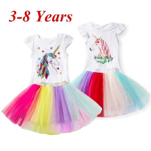 5e9cb049 3-8Year Summer Girl Cute Cartoon Unicorn Printed T-Shirts+Tutu Skirt 2Pcs  Unicorn Outfit | Wish