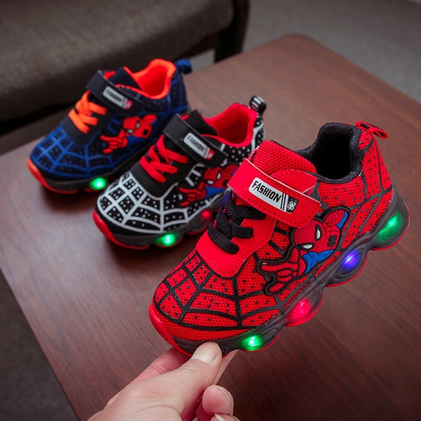 SPIDERMAN Light Up Boy/'s Shoes Blue+Red Athletic Sneakers Toddler